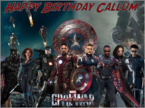 (CakeThat Tortenaufsatz für Geburtstagskuchen, Motiv Captain America Avengers, A4, essbar)