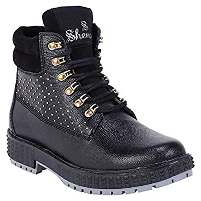 Shences Men's Black Genuine Leather Casual, mid top Tough Boots for Men.