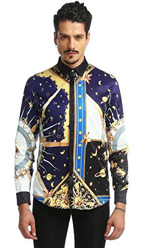 08 Langarm-t-shirt (Pizoff Herren Luxus Langarm Hemden mit Baroque-Motiven,Y1792-08,X-Large)