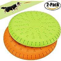 Frisbee Hund, Legendog 2 Stücke Weiches Gummi Hunde Frisbee Scheiben Durable Training Hundespielzeug Set Interactive Outdoor Spielzeug für Große Hunde 23 CM (Gelb und Grün)