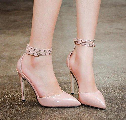GLTER Femmes, pompes à sangle de cheville Ingenuity Alone Around The Belt Chaussures à talons hauts de femmes sauvages apricot