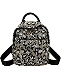 snowvirtuos Sequins Leopard Backpack Women Travel Shoulder Bags School Book  Bag (Blue) 67eda2863998c