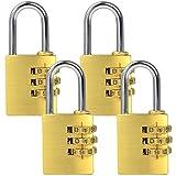 MENGS® 4pieza MG253Combinación Candado de latón y barra de acero con código de 3cifras para bolsillos, portamaletas, schatullen, cartuchos, armarios, spinden, etc.