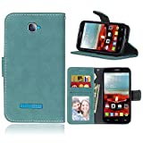 Janeqi per Alcatel One Touch Pop C7 Cover Custodia - Borsa Vintage in Pelle Flip con Trattamento Anti-Caduta Case Cover - H7/Blu