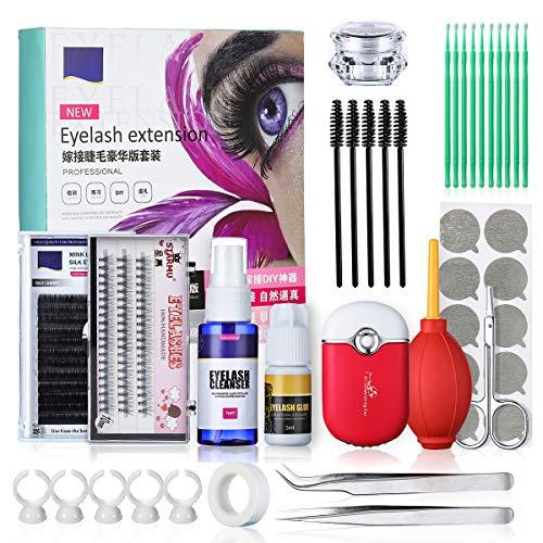 Wimpernverlängerung Set, Luckyfine Professionelle Wimpern Verpflanzen Curl Glue Tool Set, Make-up Praxis Wimpern Graft - Salon Lash Kit