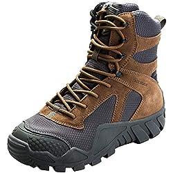 FREE SOLDIER Hombres Militares High-Top Zapatos táctico Senderismo Botas Cordones Trabajo Combate Todos los terrenos Botas Resistente al Agua 3 Colores,Wolf-Brown, 42 EU