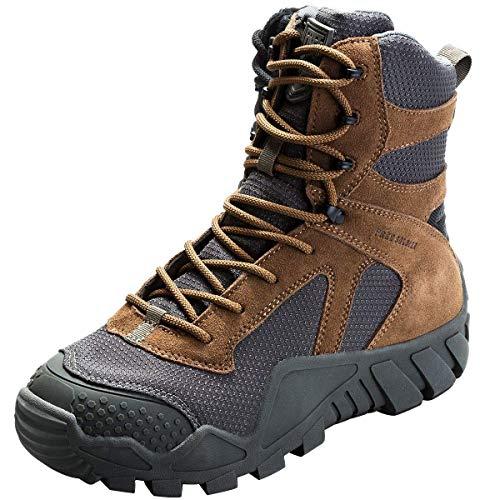 FREE SOLDIER Herren Military Top Sneaker Schuhe Tactical Wandern Stiefel Schnürschuh Arbeit Combat All Terrain Verschleißfest Stiefel 3 Farben Wolf-Braun, (Combat Schuhe Für Männer)