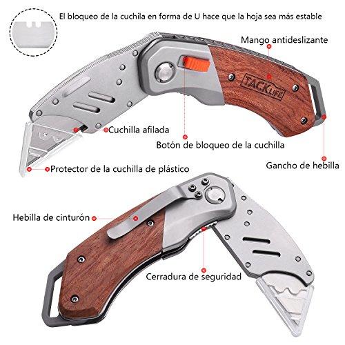 TACKLIFE Cúter  Cuchillo Plegable con 5 Hojas  Cuchillo de Seguridad con Mango de Madera  Navaja Multiuso y Bloqueo Plegable Seguro  Mango Antideslizante UKW03