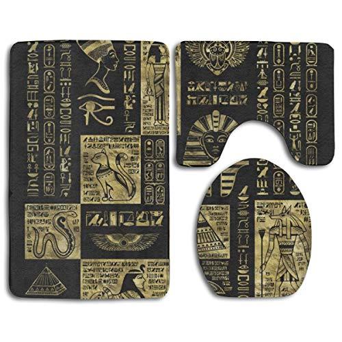 3-teiliges Leder-bett (Cocoal-ltd Badvorleger, ägyptische Hieroglyphen und Symbole, Gold auf schwarzem Leder, 3-teiliges Set, Memory-Schaum, rutschfeste Badematte und WC-Deckelbezug)