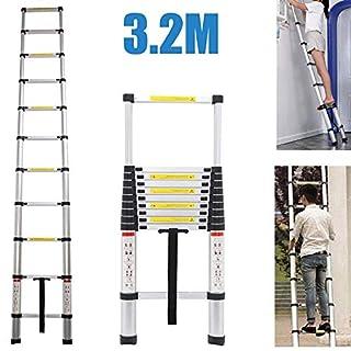 Ausziehbare Teleskopleiter, 11Stufen, tragbare, leichte Leiter für Zuhause, Belastbarkeit: bis zu 150kg.
