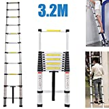 3.2M Extension Telescopic Ladder 11 Steps Telescoping Aluminum Portable Light Weight DIY Ladder
