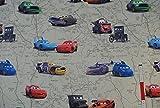 alles-meine.de GmbH 1 m * 1,5 m STOFF CARS grün große Motive Polyester - Satin LIGHTNING MC QUEEN - Verdunklungsstoff - Übergardine - Gardinen - Vorhänge - Kinderzimmer - dunkel