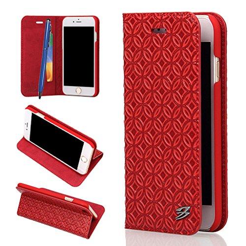 iPhone 6S Plus/6 Plus Echtem Leder Hülle,Careynoce Luxus Handgefertigt Echtem Leder Brieftasche Magnetischen Flip Schutzhülle für Apple iPhone 6S Plus iPhone 6 Plus(5.5 Zoll) -- Klassisches geprägtes  M01
