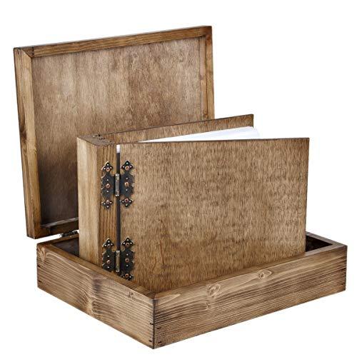 Dickes 75 Blatt 150 Seiten Holz Album mit Geschenkbox Foto Album in Schatulle zum selbst gestallten Stammbuch Firmenbuch aus Edelholz