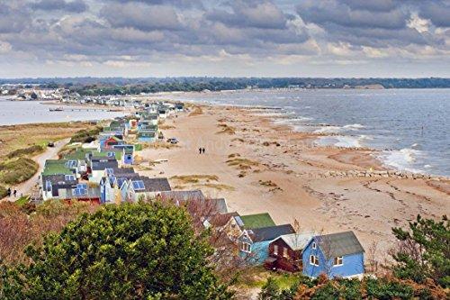 eine 45,7 x 30,5 cm Fotografieren Fotodruck Strand Hütten hengistbury Head Christchurch Bournemouth England Dorset UK Landschaft Foto Farbe Bild Art Print