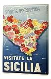 Blechschild Welt Reise Sizilien Insel Blumen Wand Deko