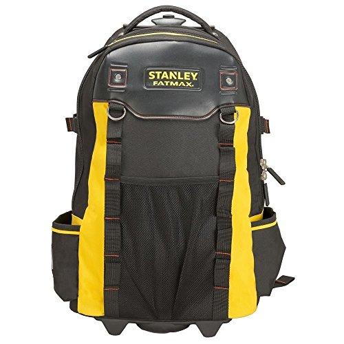 Stanley FatMax Werkzeugrucksack (60 x 38 x 24 cm, wasserdichter Kunststoffboden, atmungsaktive Polsterung, stabiler Teleskopgriff, robustes 600 Denier Nylon) 1-79-215