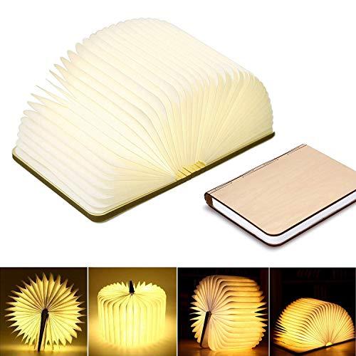 Starlotus LED Buchlampe Faltbar in Buch Form Holzbuch mit 2500 mAh Akku Nachttischlampe Nachtlicht dekorative Lampen Ölbildscheibe Papier + Holz Einband (warmweiß, 22x3x17.5 cm)
