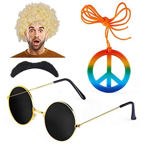 1970er Kostüm - Haichen Hippie Kostüm Herren 1970er 60er Jahre Afro Perücke Hippie Sonnenbrille Schnurrbart Friedenszeichen Halskette Kostümzubehör (E)