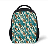 Kids School Backpack Jellyfish Decor,Vintage Diver Suit Pattern Jellyfish at The Background Water Sports Tile Theme,Teal Brown Plain Bookbag Travel Daypack