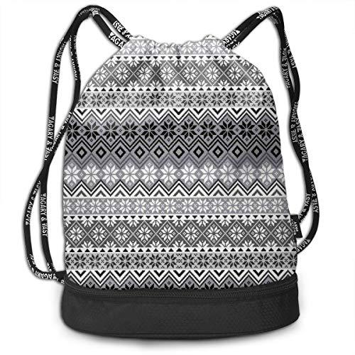 Nordic Womens Jacket (LULABE Printed Drawstring Backpacks Bags,Nordic Snowflake Knit Patterns Scandinavian Motifs Traditional and Modern Print,Adjustable String Closure)