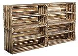 4er Set große geflammte Holzkiste mit Mittelbrett als Schuhregal oder Bücherregal - breite Obstkiste flambiert XXL als Kistenregal / Schuhkiste 74,5x40,5x31cm
