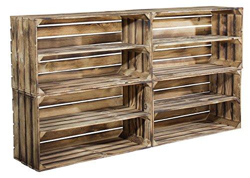 4er Set große geflammte Holzkiste mit Mittelbrett als Schuhregal oder Bücherregal - breite...