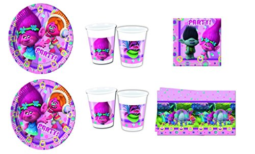 CDC–Kit N ° 13Día y Party Trolls–(32platos, 32vasos, 40servilletas, 1mantel)