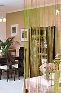 150x245 cm limonengrün grün limonengelb Spaghetti Vorhang Vorhänge Perlenvorhang Kräuselband Wäschenetz Korallenvorhang Korallen Fensterdekoration Gardine lime green Spaghetti
