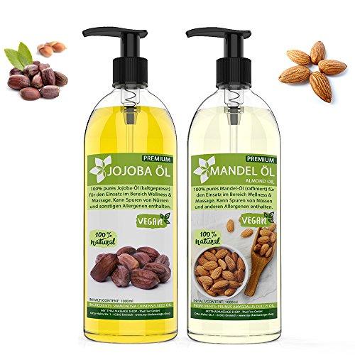 Jojobaöl gold (kaltgepresst) 1000ml + Mandelöl 1000ml im Doppelpack - MyThaiMassage Premium - 100% rein - natürlich & vegan - wertvolle Öle zur Hautpflege Bartpflege Massage Kosmetik Spa