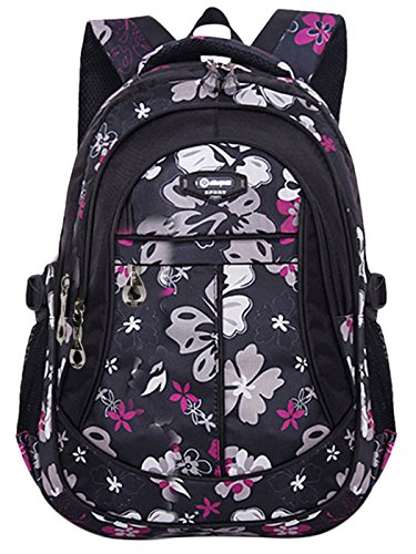 Happy Cherry Schulrucksack Blumen Schulranzen Schultasche Sports Rucksack Freizeitrucksack Daypacks Backpack für Mädchen Jungen Kinder Damen Herren Jugendliche-Schwarz