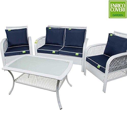 Salotto completo giardino in poly rattan modello premier bianco con divano sofà poltrone e tavolo enrico coveri