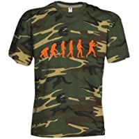 Camouflage Classic Army Style T-Shirt Kurzarm in Tarnfarbe Bedruckt mit Evolution Boxing in Neon Orange