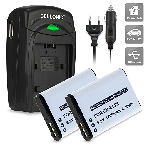 2x subtel Batería EN-EL23 incl. Cargador MH-67P premium para Nikon Coolpix B700, Coolpix P600, Coolpix P610, Coolpix P900, Coolpix S810c (1700mAh) incl. fuente alimentación + cargador de coche - cargador automóvil / corriente, ENEL23 bateria de repuesto, pila reemplazo, sustitución