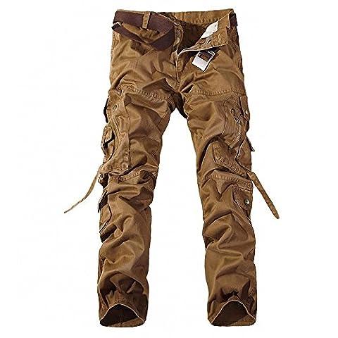 Minetom Vintage Cool d'été Homme style militaire Cargo Shorts Sports de combat Casual Pantalon ( Jaune 1 FR 40 (Waist 78-82cm)