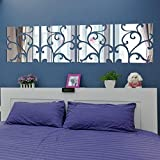 wuayi 16pcs DIY 3D Acrylic Mirror Decal Mural Wall Sticker Home Room Decoration Removable (Silver)
