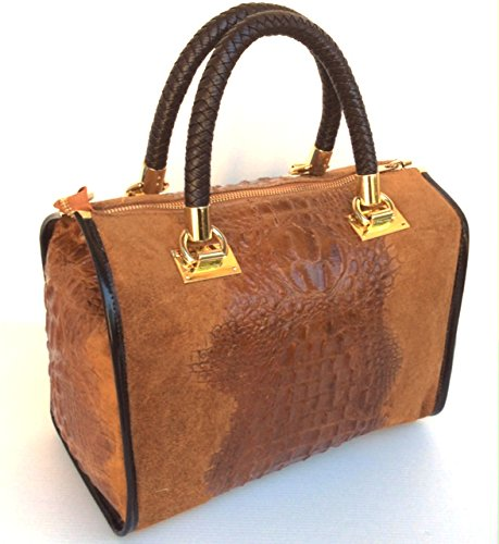SUPERFLYBAGS Borsa Bauletto In Vera Pelle Camoscio stampa Coccodrillo Modello Isa Croco Made In Italy marrone