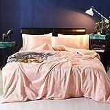 zlzty 4-teiliges Set aus gewaschener Seide, 2-teiliges Set aus Seidenbettwäsche, Einzelbettbezug, Kingsize-Bettwäscheset, Spannbetttuch aus gebürsteter Baumwolle