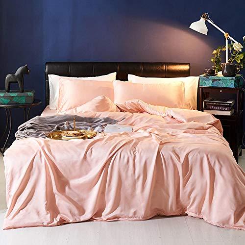 zlzty 4-teiliges Set aus gewaschener Seide, 2-teiliges Set aus Seidenbettwäsche, Einzelbettbezug, Kingsize-Bettwäscheset, Spannbetttuch aus gebürsteter Baumwolle -