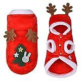 SLHP Haustierkostüm Red Warm Christmas Pet Plüsch Santa Kostüm Weihnachten Halsbänder und Hut Kleine Hunde Katzen Weihnachtsmannkostüm Festivals Parteien Bekleidung Zubehör (XL)
