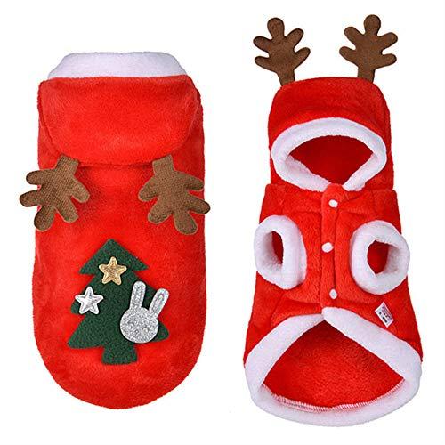 SLHP Haustierkostüm Red Warm Christmas Pet Plüsch Santa Kostüm Weihnachten Halsbänder und Hut Kleine Hunde Katzen Weihnachtsmannkostüm Festivals Parteien Bekleidung Zubehör (S)