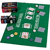 Poker Set / Blackjack Set in Metal Box, 200 Piece Poker Chips, 2 Decks, Dealer Button, Small Blind, Big Blind, Play Mat
