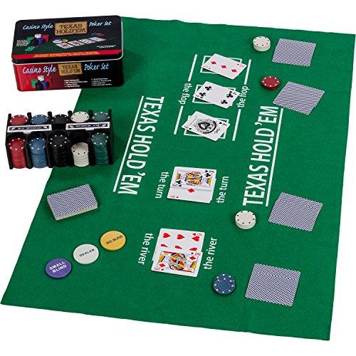 Metallbox, 200 Poker Chips, 2 Decks, Dealer Button, Small Blind, Big Blind, Spielmatte Texas Holdem ()