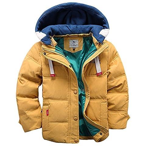 LSERVER Doudoune pour Garçon Veste d'hiver avec Capuche Amovible Doudoune Manches Longues Enfant Manteau Chaud, Jaune, 7-8 ans(Taille fabricant: 130)