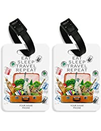 Personalize Luggage Travel Baggage Tags From Excitinglives - SET OF 2 TAGS - Eat Sleep Travel Luggage Tags
