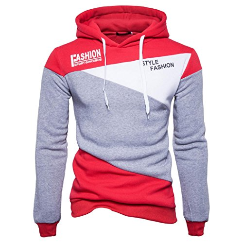 Der neue Pullover der Männer, Kaiki Mens 'Print Letter Patchwork Hoodie Kapuzen Sweatshirt Tops Jacke Mantel Outwear (S, Gray)