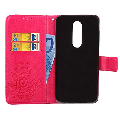EKINHUI Case Cover Double Magnetic Back Sucktion Retro Style PU Leder Flip Stand Case mit Kickstand und Wallet Beutel Funktion für Motorola Moto M ( Color : Black ) Rose