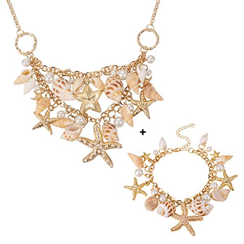 PandaHall Elite Ozean-Art Multi Seestern Sea Star Seestern Conch Shell Perlen Kette Armband Armkette und ()