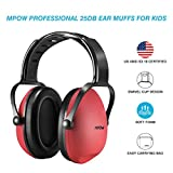 #3: Mpow Kids Hearing Protection Ear Muffs, NRR 25dB Professional Sound Proof Ear Protection Ear Defenders, Kids Safety Ear Muffs for Sleeping Reading Shooting Etc(Red)
