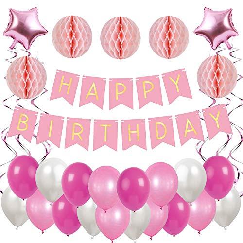 Ohigh Happy Birthday Rosa Geburtstag Deko Set, Girlande mit Luftballons Weiß Rosa Wabenbälle Spirale Kindergeburtstag Mädchen Geburtstagdeko Partyset